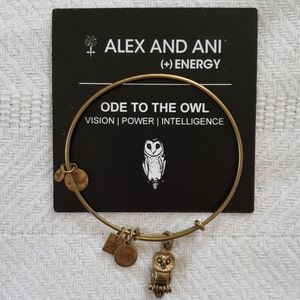 Alex and Ani Gold Tone Owl Bracelet with Card